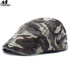 Minhui Camouflage Print Beret Army Cap for Men Cotton Hat Military Fla