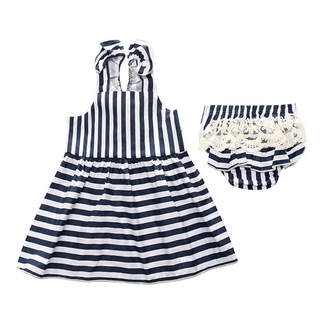 bc2da261a90e Infant Baby Girls Clothing Set Lace and Striped Sleeveless Baby ...