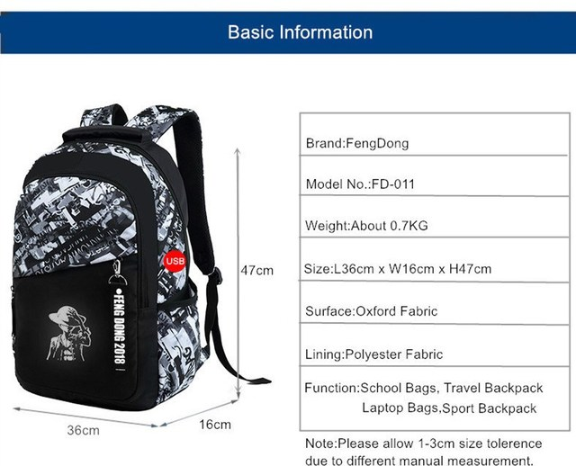 FengDong boys school bags waterproof large backpack for teenagers bagpack high school backpack for boy student casual travel bag