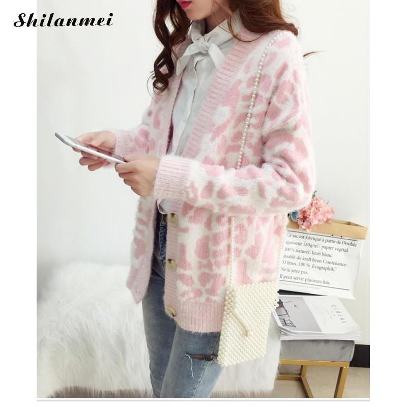Ladies Cardigans Sweet Leopard Sweater Cardigan Women Long Sleeve Pink Knitted Sweater Women Winter Top Jumpers Casaco Feminino