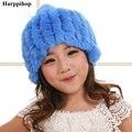 Девушка Кролик Меховая шапка 100% натуральный Мех Теплая зима теплая шапки Мода Зимние шапки для Детей Шапочки Skullies красочные детские caps