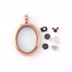 Image 4 - Vinnie Design Jewelry Oval Locket Magnetic Glass Stainless Steel Floating Charms Lockets 5pcs/lot Wholesale