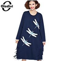 Fashion Women Dragonfly Rhinestone Casual Loose Dress Ladies Tassel Long Sleeved Long Dresses 2016 Spring Fall