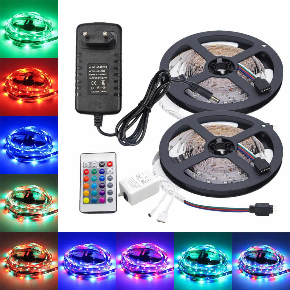 5 M 10 M LED Strip 12 V 60 LED/M Lampu LED Rope Light SMD 2835 LED Flexible Lampu lampu Multicolor LED String + LED Controller + Adaptor Uni Eropa