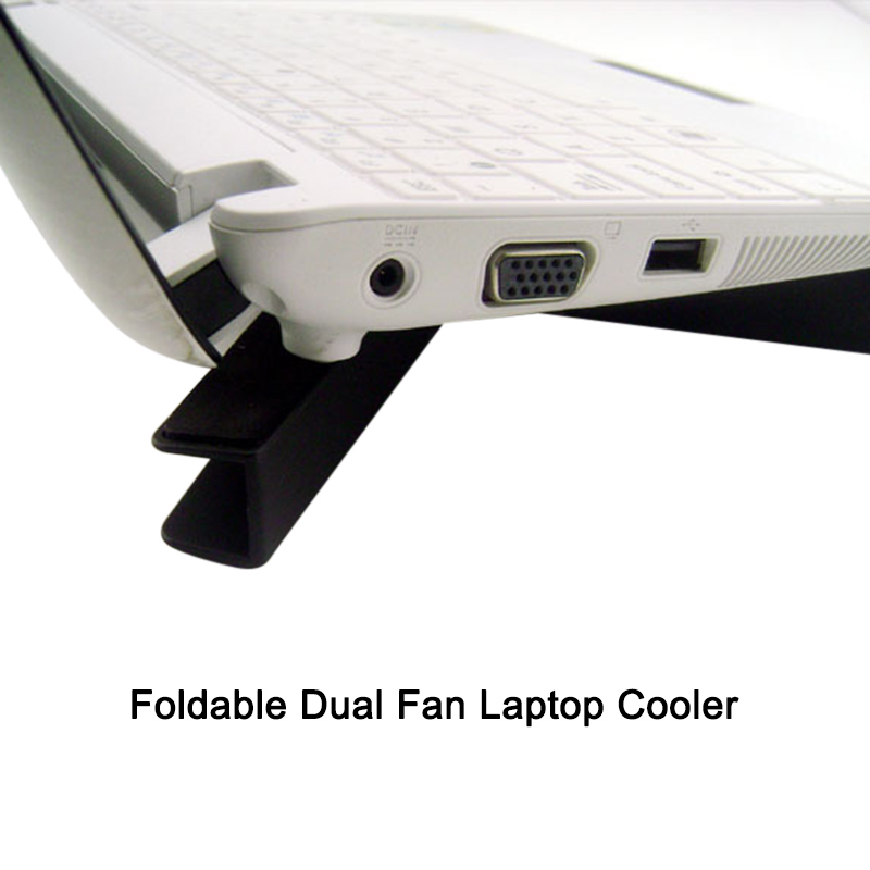New Laptop Cooler Pad Stand Base Cooling Foldable Dual Fan USB Portable Convenient
