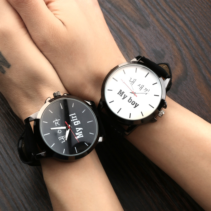 South Korea's Small And Lovely Cartoon Cat Fresh Super Is Soft Belt Couples Younger Sister Harajuku Fashion Watches Black And Dw