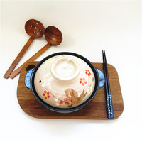 Japanese Hand Painted Sakura Single Lithium Porcelain Small Clay Earthen Pot Cooking Flat Bottom Casserole Cooker