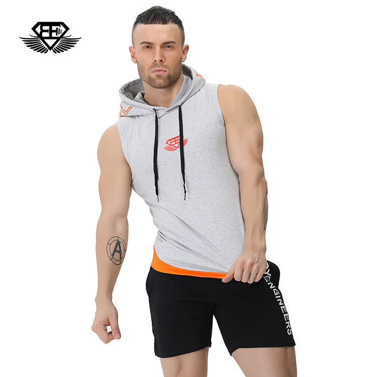 Running Vest Hoodies Men Quick Dry Breathable Sport T-shirts Camping Climbing Fishing Clothing Loose Gym Tank Top with Hat