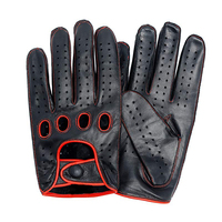 New Arrival Luxury Mens Leather Gloves Mittens Hole Button Breathable Goat Genuine Leather Men Driving Gloves For Male Mitten