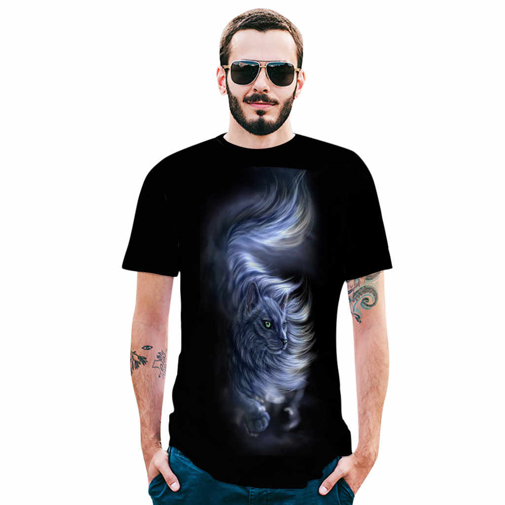 feitong Men's tshirt camiseta Summer Round Neck Print Tops Comfort Short Sleeve tee shirt Top mens t shirts fashion 2019 ropa