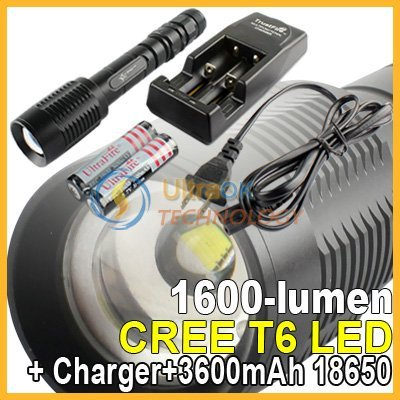 Free shipping V-Shark Adjustable Focus 1600 lumen 5 Modes CREE XML XM-L T6 LED Aluminum Flashlight Torch Black X2B+18650+Charger