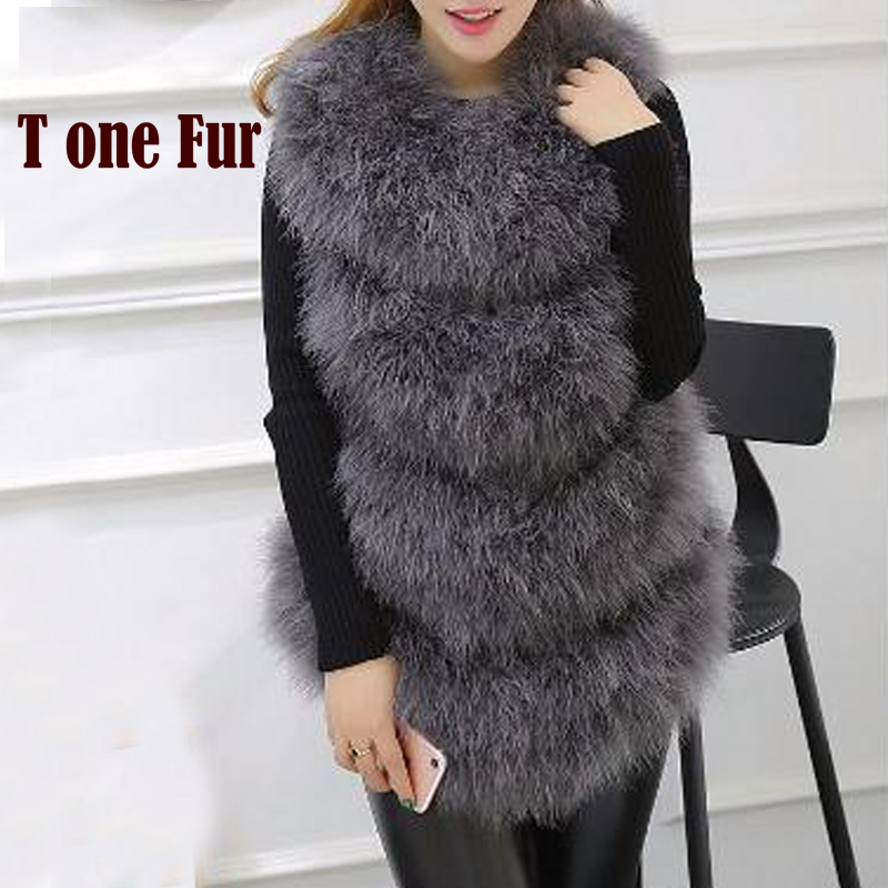 Handmade Women Genuine 100% Pure Natural Knitted Ostrich Fur Vest Top Quality Slim Fitting Real Feather Fur Coat KSR141