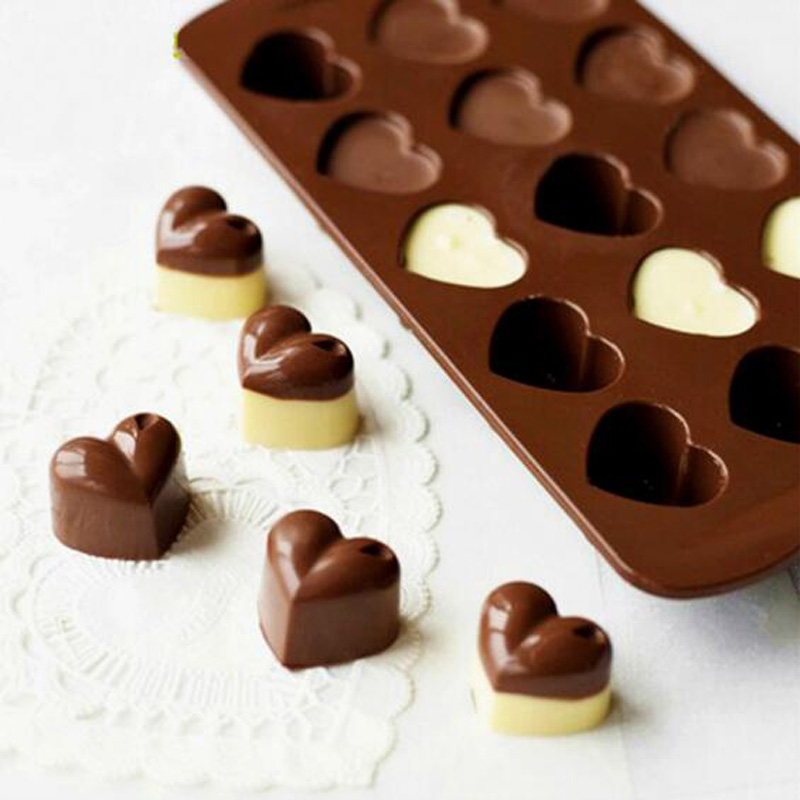 Non stick Silicone Chocolate Molds Love Heart Shaped Jelly Ice Molds Cake Mould Bakeware Baking Tools