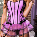 Sexy Fantasy Corset Tutu Skirts Mesh Goth Steampunk Gothic Skirt for Burlesque Dancer Women Corselet pink Corset Tutu Skirt Set