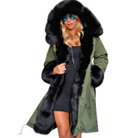 2018 Women Long Coat Parka Winter Big Faux Fur Collar Removable Thick Warm Hooded Jackets Spring
