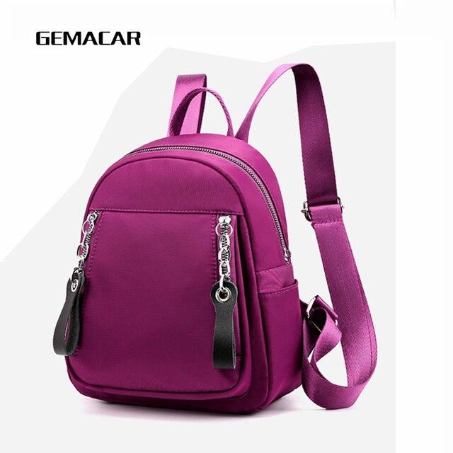 c52ce334cc88 Повседневный женский маленький рюкзак одноцветная ткань легкая сумка  женская ...