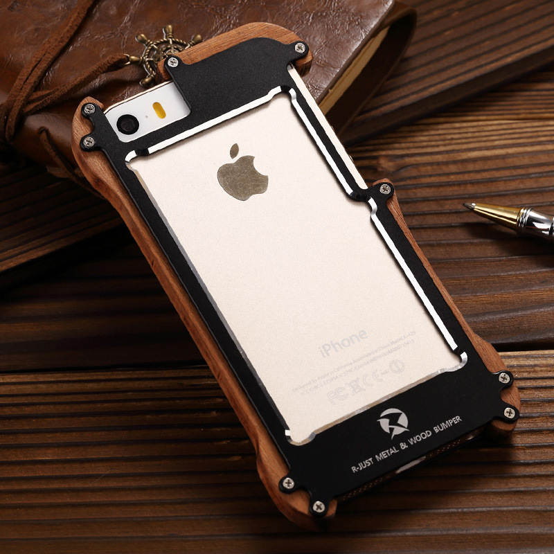 R-JUST Shockproof For <font><b>iPhone</b></font> 5s Aluminum Metal Natural Wood Frame Bumper Case For <font><b>iPhone</b></font> 5 5s se outdoor anti-knock Phone Cover