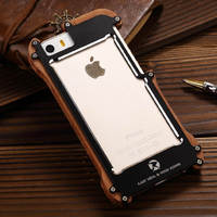 R JUST Shockproof For IPhone 5s Aluminum Metal Natural Wood Frame Bumper Case For IPhone 5