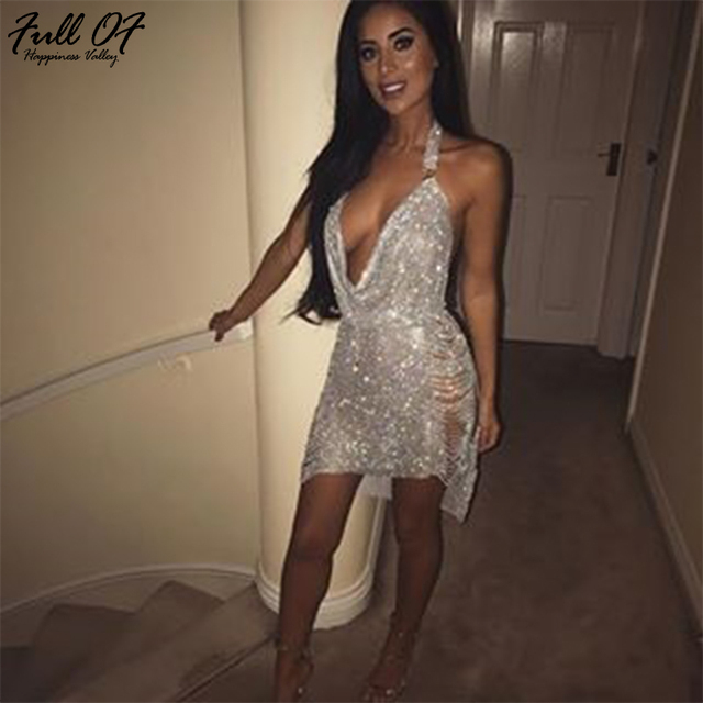 Luxury Sexy Women Metal Diamonds Chain Crystal Party Dresses Summer Halter Gold silver Sequins Night Club Dress Vesitos 2017