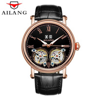 AILANG Double Tourbillon Watches Luxury Brand Automatic Mechanical Watch Man Waterproof Genuine Leather Straps Men Wristwatch
