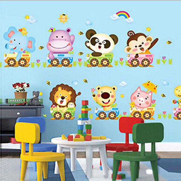 Cute Cartoon Animal Train Wall Sticker Kids Room Decor Stickers DIY ...