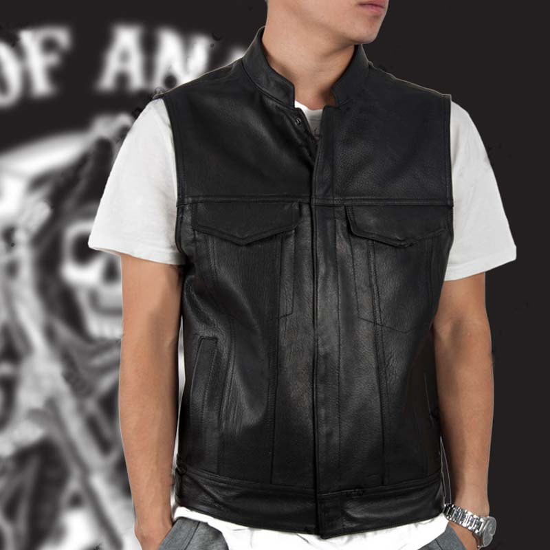 Hot fashion Sleeveless Jackets costume,New Men Fashion Design Vests Harley Leather Vest Bomber Motorcycle Engine Punk Pu