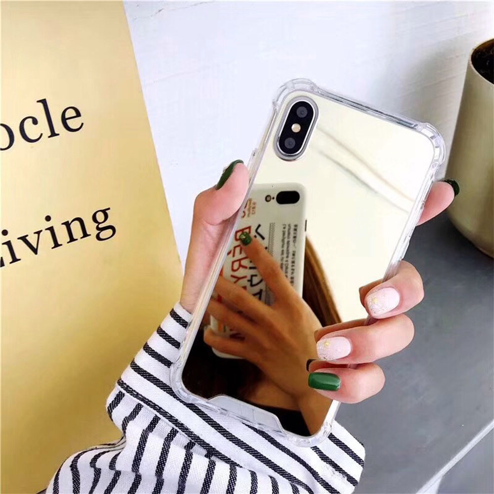 Plating Mirror Anti knock Phone Case For iPhone 7 8 Plus XS Max XR Luxury Fashion Airbag Soft TPU Cover For iPhone Xs 6 6s Plus in Half wrapped Cases from Cellphones Telecommunications