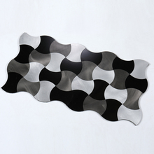 4 Pieces New Arrival Waterproof Peel and Stick On Metal Steel Backsplashes Tiles Fireproof 12 Inch Brushed Weaver Tile