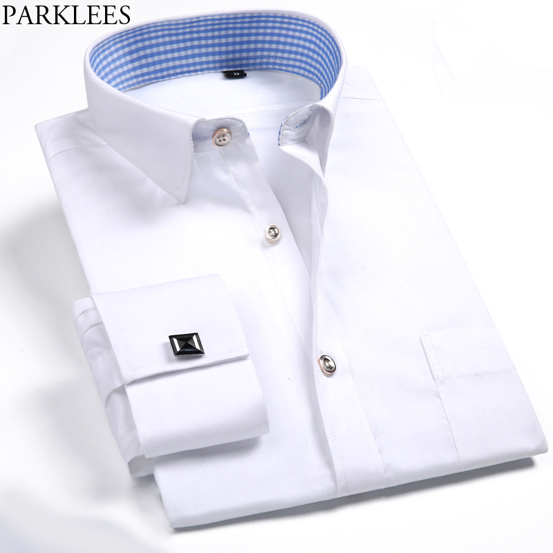 Us 15 6 49 Off White Shirt Brand French Cufflink Plaid Print Lining On Down Shirts Business Casual Long Sleeve Camisas Hombre In
