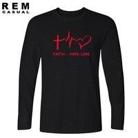 Nuovo Stile Fede Speranza Amore Christian manica Lunga T-Shirt Divertente cristianesimo dio t Regalo Maglietta Uomo Casual Top Tees
