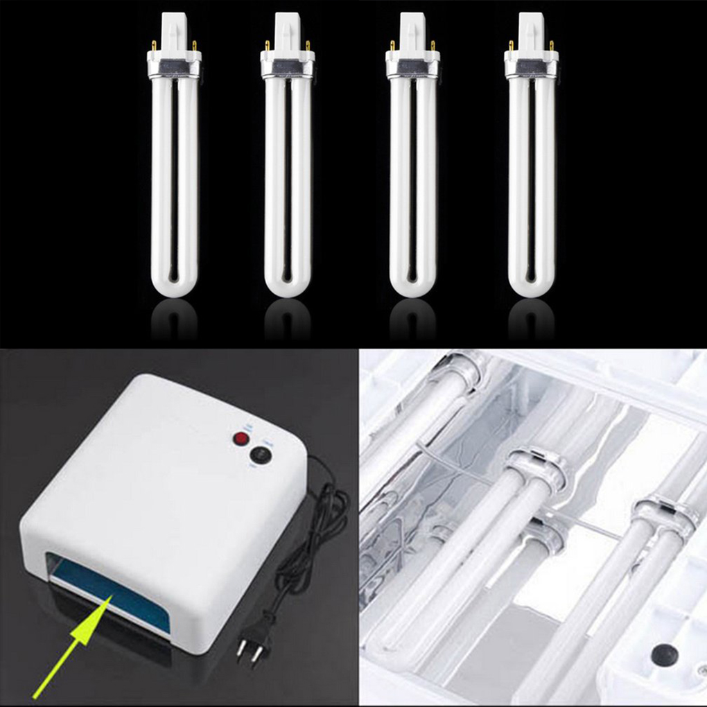 4Pcs 9W Curing UV Gel Lamp Gel Nail Art Dryer Light Bulb Tube Replacement