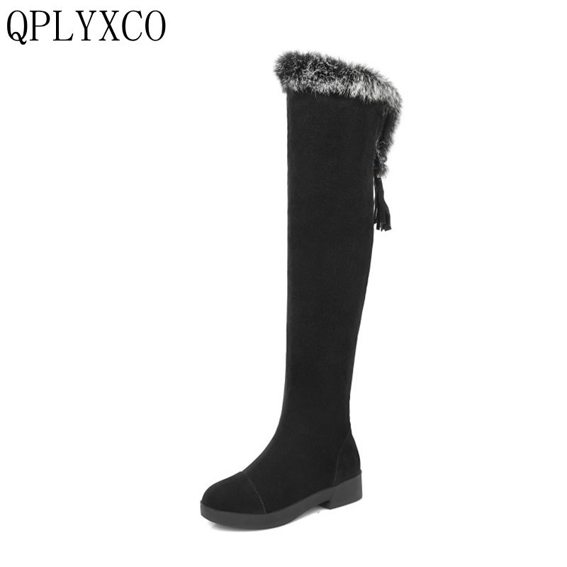 QPLYXCO New fashion Big Size 34-43 Russia Women Winter Warm Snow boots over the knee Long Botas fur zapatos mujer shoes C9-7 doratasia big size 34 43 women half knee high boots vintage flat heels warm winter fur shoes round toe platform snow boots