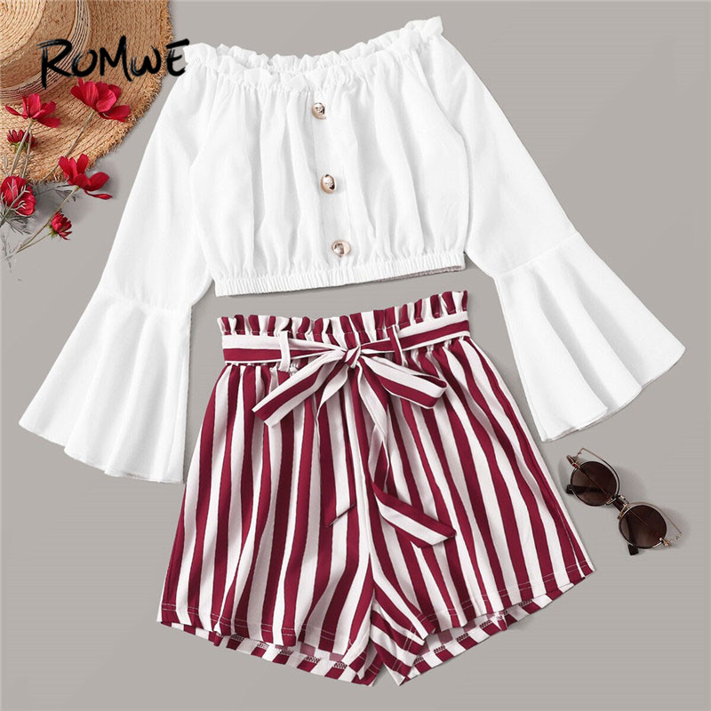 ROMWE Button Front Off Shoulder Crop Top With Striped Belted Shorts 2 Piece Outfits For Women Summer White Blouse Two Piece Set