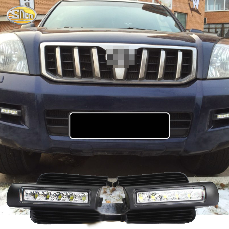 SNCN E-mark LED Daytime Running Lights For Toyota Prado 120 FJ120 LC120 2003 2004 2005 2006 2007 2008 2009 DRL fog lamp newest led daytime running light for toyota prado 120 lc120 grj120 2003 2009 fog lamp drl bumper light accessories parts