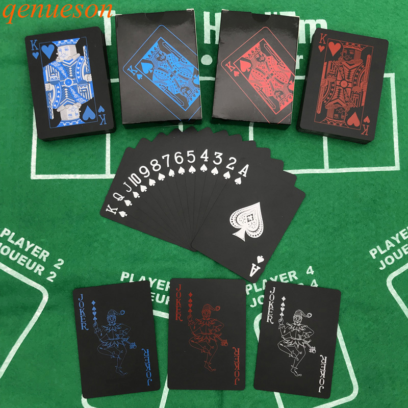 10Sets/Lot New High Quality Red&Blue Smooth Waterproof Black Plastic Playing Cards Texas Holdem Poker Cards Baccarat Board Game