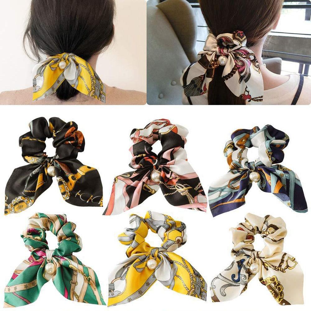 New Chiffon Bowknot Silk Hair Scrunchies Women Pearl Ponytail  2