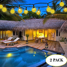 2 Pack New 50 LEDS 10M Crystal ball Solar Lamp Power LED String Fairy Lights Garlands Garden Christmas Decor For Outdoor