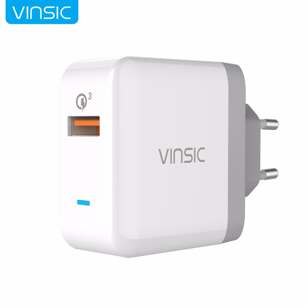 Vinsic Quick ChargeQC3.0 Phone Charger Wall Charger Mini Travel Charger Adapter For iPhone X 8 Plus Samsung Huawei Xiaomi