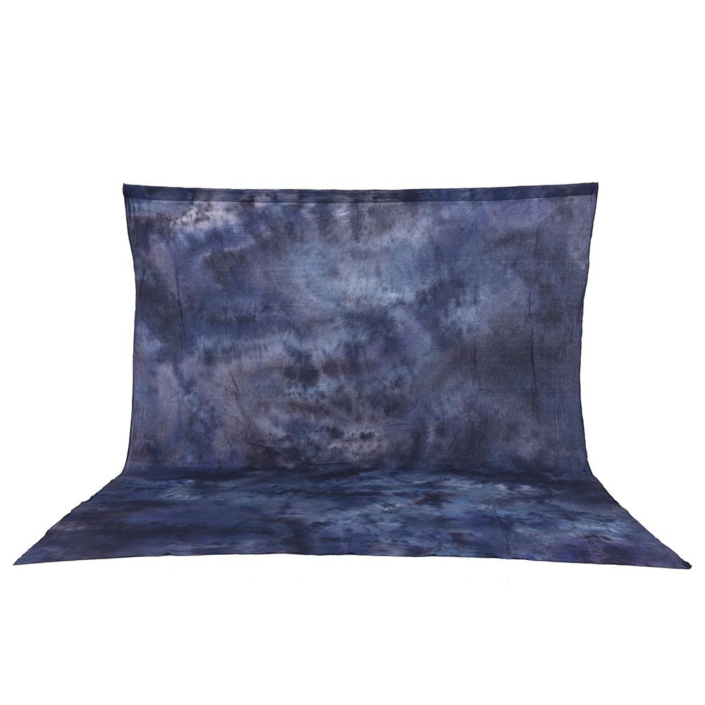 Prix pour 3*3.6 m 100% Pur Coton Mousseline Pliable Rétro Cravate-Teint Bleu-Gris Toile de Fond Fond pour Photo Studio Portrait Photographie
