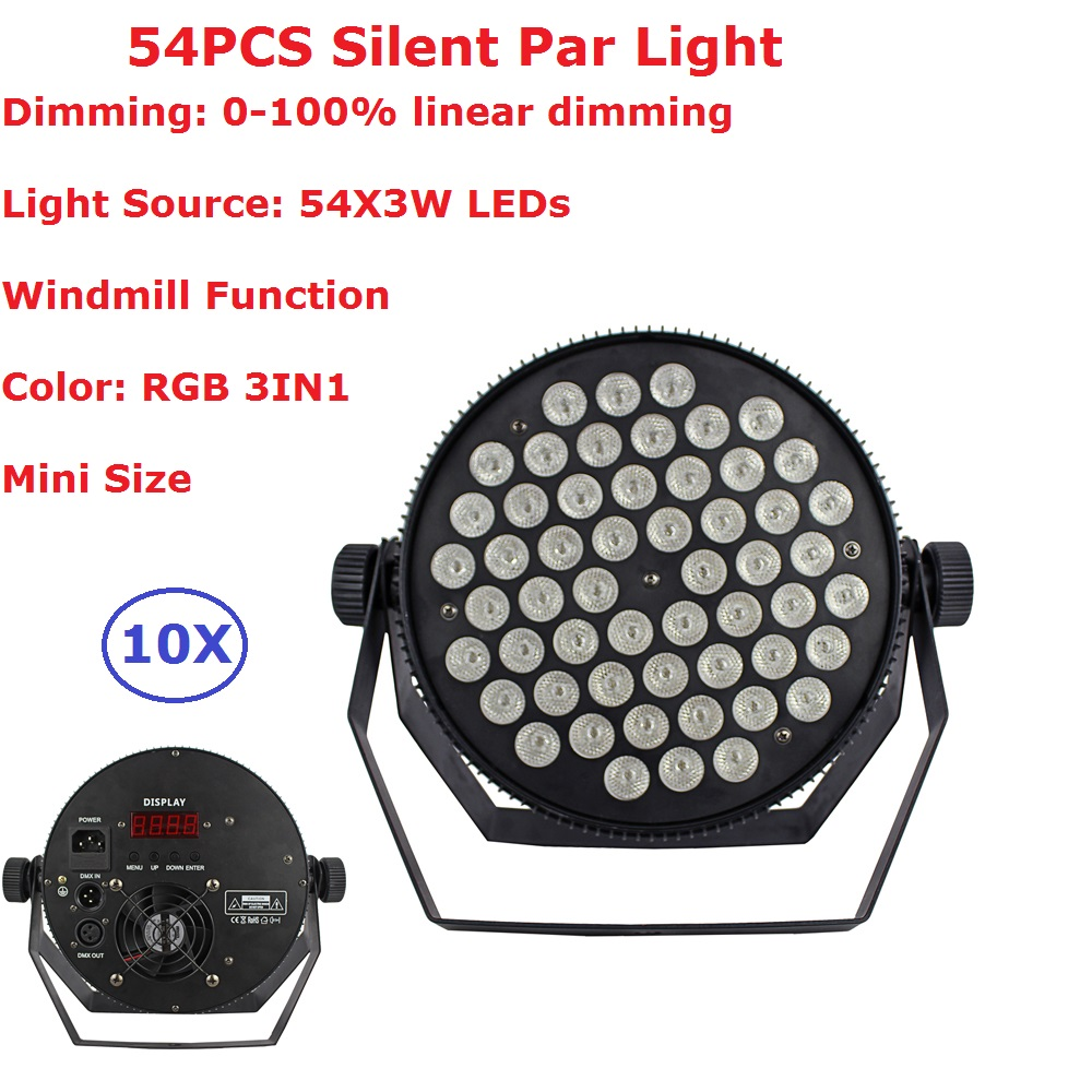 Free Shipping 10 Unit Meeting/Hall Silent Led Par Cans 54X3W RGB Full Color LED Stage Flat Par Light 90-240V With 7 DMX Channels 2pcs lot led par cans 54x3w rgb 3in1
