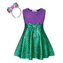AmzBarley Toddler girls Princess Ariel costume kids Birthday Halloween Christmas Party Dress Children Sleeveless Summer clothing kids clothing summer dresses girls toddler girl princess dress sleeveless polka dots bowknot lovely birthday party sundress hot