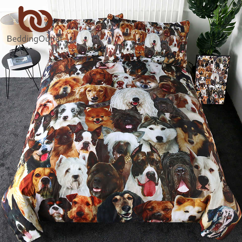BeddingOutlet 3D Cane Set di Biancheria Da Letto Per Bambini Copripiumino Set Pet Husky Bulldog Tessuti Per La Casa 3-Piece Animale Marrone Biancheria Da Letto commercio all'ingrosso