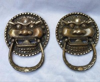 Collection 1 Pair of ancient Chinese old copper lion style knocker statue,free shipping