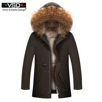 VSD 2018 мех зимние куртки мужские супер теплые парки Кролик волосы начинкой с енота капюшон большой, мех зимнее пальто утепленная парка 9016
