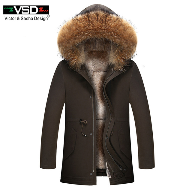 Special Price VSD 2018 Fur Winter Jackets Mens Super Warm Parkas Rabbit Hairs Filling With Raccoon Hood Big Fur Winter Coat Thicken Parka 9016
