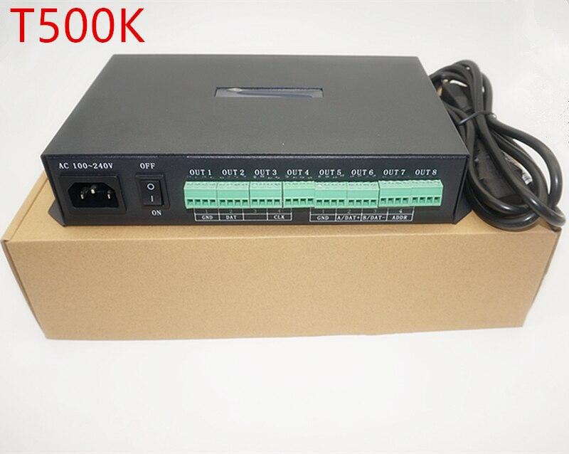 T 500K контроллер компьютер онлайн RGB полноцветный светодиодный пиксель модуль контроллера 8 портов Поддержка до 300000 пикселей WS2801 WS2812B