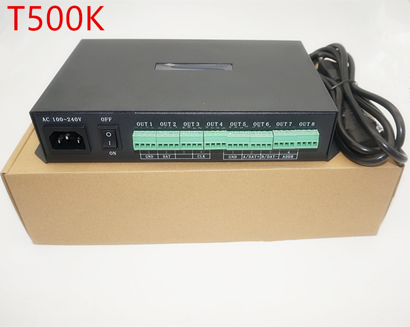 T-500K controller Computer online RGB Full color led pixel module controller 8ports support up to 300000 pixels ws2801 ws2812b