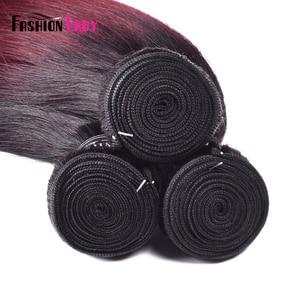 Image 5 - Fashion Lady Per colored Brazilian Straight Hair 3/4 Bundle 1b/99j Ombre Human Hair Extensions Non remy Hair Weave Bundles