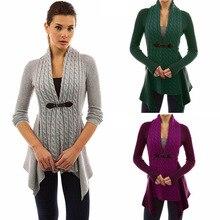 Негабаритный женский осенне-зимний вязаный свитер с длинным рукавом Асимметричный длинный кардиган пальто Топы уличная одежда свитер размера плюс ZC2208