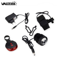 Waterproof 3000Lm T6 LED Bicycle Lamp 5 Modes Zoomable Bike Light Torch Headlight +Red Laser Safety Light+Battery Sets